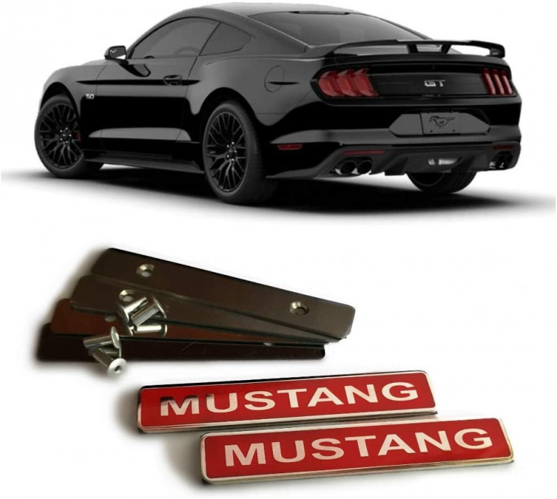 Ford Mustang GT Any Model Floor Mats Interior Red Insertion Badges Decals Emblems Metallic Chrome Polished 2 pcs Set