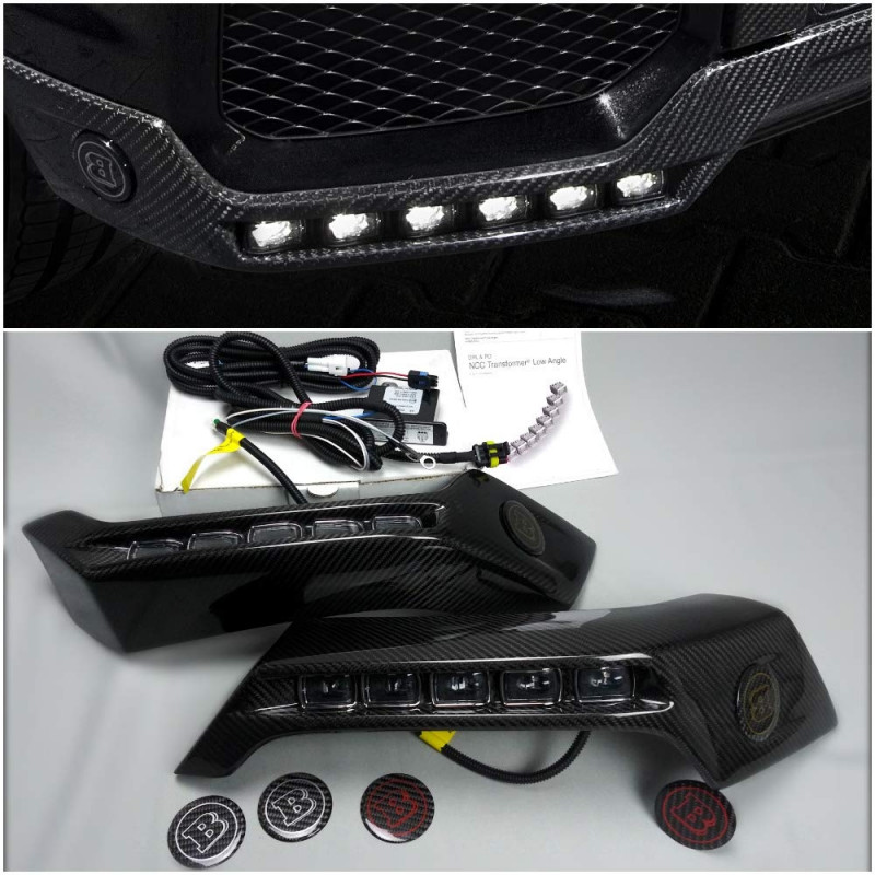 Mercedes W463 G500 G55 G63 G65 G Wagon Class Front Bumper Carbon Fiber Lip Spoiler with LED Brabus Style